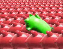 Green investments are illustrated in this stock photo of a green piggy bank leaping out from a crowd of pink piggy banks.