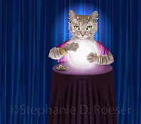 A gypsy fortune teller cat hovers over a crystal ball in a funny cat photo created as a stock photo and for humorous greeting cards.