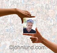 Online dating is cleverly illustrated in this image of a pair of hands framing a man's portrait against a social media background composed from hundreds of individual pictures.