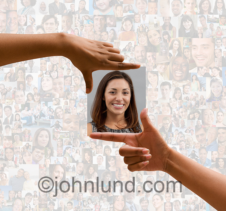 In this online dating stock photo a pair of hands frame a woman's portrait against a background created from hundreds of individual social media pictures.