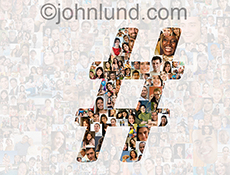 Numerous social media portraits are seen through the shape of a hashtag against a semi transparent white background additionally filled with over two hundred individual portraits.