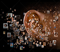 Hearing the crowd is seen in this stock photo of a human ear surrounded by social media portraits on a black background.