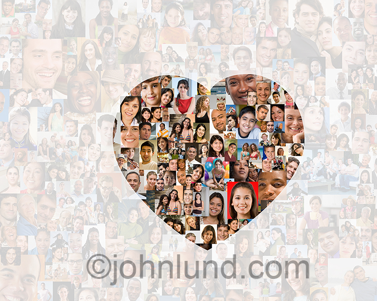 Love and romance in the cloud is illustrated in this stock photo of hundreds of model released people portraits with a heart shaped clear center surrounded by a grayed-back crowd.