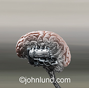 A human brain is shown with a powerful engine embedded in a stock photo about brain enhancement, artificial intelligence, and brain issues.