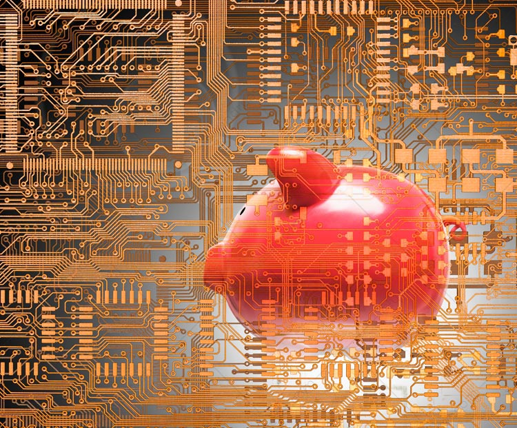 A pink piggy bank is enveloped within a complex set of high tech computer circuitry in a stock photo about high tech investment and investing in technology.