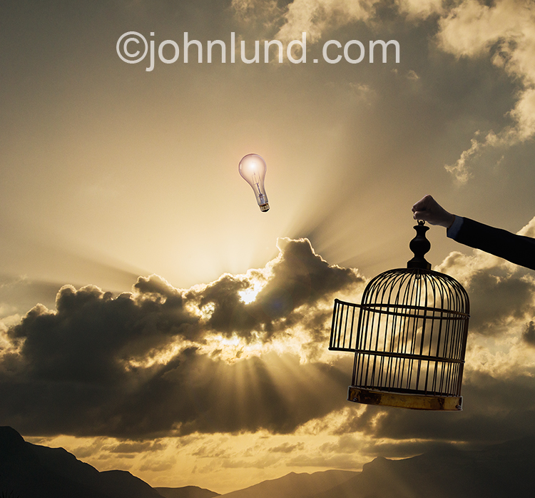 A light bulb rises into the sky in an image about unrestricted ideas, imagination and creativity.