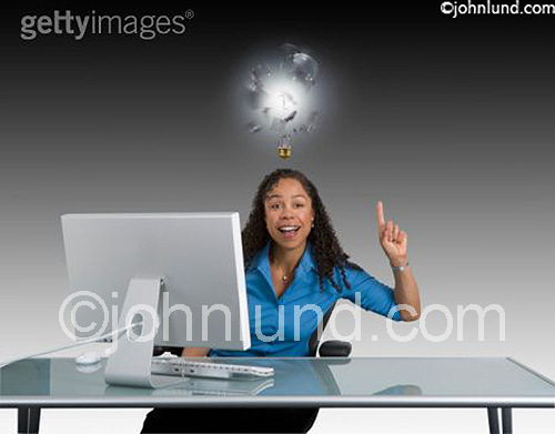A woman with a powerful idea illustrated by a light bulb exploding above her head as she has an epiphany. The young adult woman, an african american woman, is wearing a blue blouse and holding up her index finger.