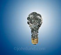Innovation is seen in this concept stock photo of a light bulb made from gears, sprockets and chains...technology, creativity and ideas...all in one elegant photo.