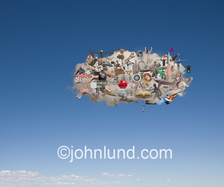 The Internet of things is shown in this image of a single cloud against a blue background, and filled with all manner of objects, people and animals and shows the penetration of the Internet and cloud computing into the depths of all of our lives.