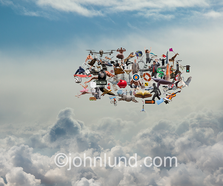 The Internet of things in the cloud and cloud computing are seen in this image of a cloud shaped collection of things, people and animals hovering above a thick cloud cover.