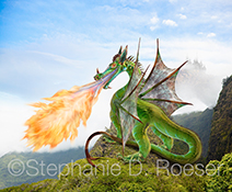 An iridescent fire breathing dragon perches on a cliff as he bellows his breath of flame above a distant valley in a fantastical stock photo created from iguana parts.