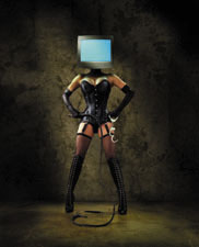 Picture of dominatrix with computer for head