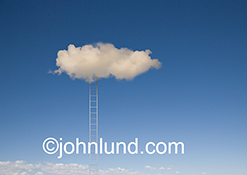A single ladder leads to a solitary cloud in a stock photo about entry to cloud computing and online archiving.