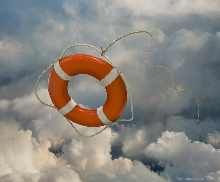 An orange life ring sails out through high altitude clouds in a stock photo about assistance for cloud computing, IT help and rescue from difficult communications technology problems.