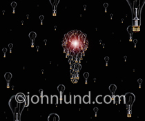 Light Bulbs On Black are forming together to take on the shape of a larger light bulb in an image about innovation, creativity and ideas.