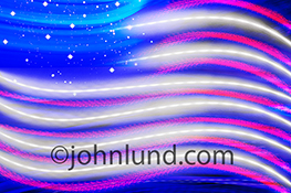 Light trails and night stars combine to create a high tech American flag in a stock photo about  patriotism in the digital age.