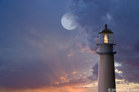 A full moon looms in the sky at sunset while a watchman of the lighthouse looks out to sea in this stock photo.