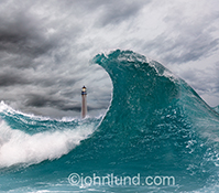 A huge wave dwarfs a lighthouse in the background in this stylized image of a tsunami-like wave in a stormy ocean setting.