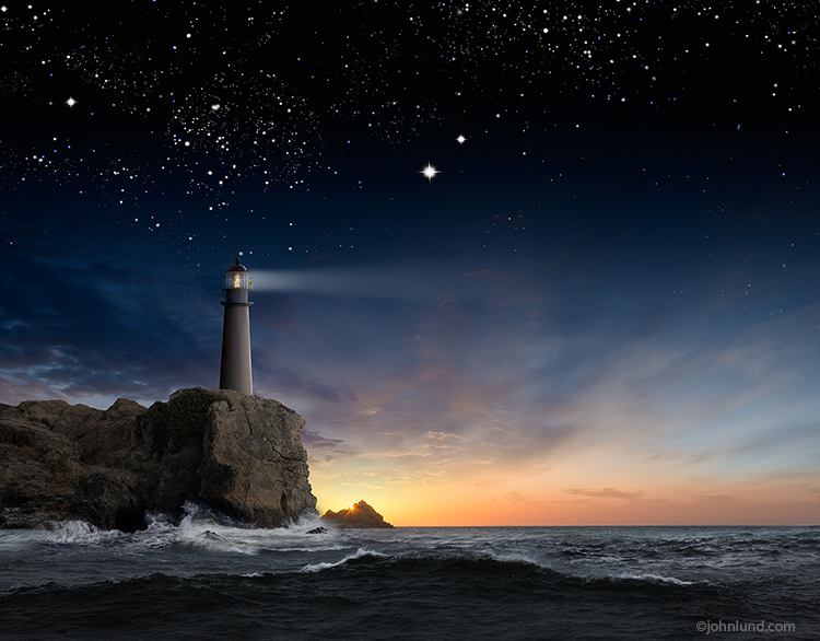 This lighthouse stock photo features a lighthouse on a cliff over looking an ocean at twilight and under a starry night sky, and with a lighthouse keeper standing watch over the dark waves below.