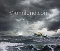A lightning bolt strikes the waves in a rough sea on which a sailor rows his small boat through the tossing water in a stock photo about courage, daring and conquering adversity against overwhelming and dangerous challenges.