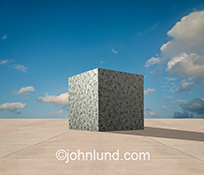 A huge cube of dollars sits on an otherwise empty stretch of concrete in a stock photo about money and finance.