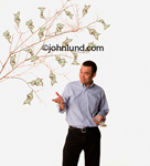 Picture of a young man standing next to a money tree limb. The man has a few bucks in one hand and is gesturing with the other hand to the tree of money next to him. Happy man growing money.