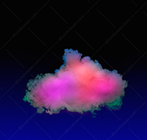 A multi-colored cloud stock photo floats on a blue to black background in an image about cloud computing, mystery, and innovation.