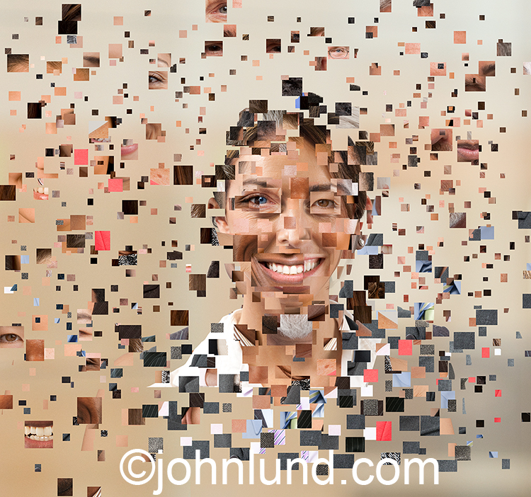 A multi-ethnic digitally composited woman formed from fragments of a variety of different people in a stock photo about the digital workforce.