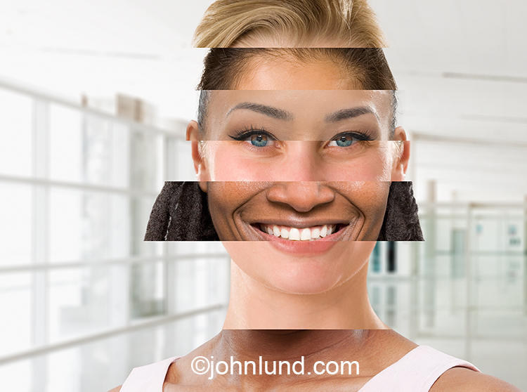 A composite portrait of a woman using slices of multiple ethnically diverse portraits creates a conceptual stock photo for illustrating issues of global business, diversified work forces and social networking.