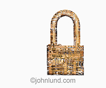 Network security is cleverly shown in this stock photo of computer circuitry taking on the shape and feel of a padlock on a white background.