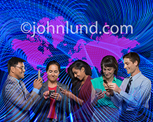 A group of business people are networked globally in this stock photo combining five business people with streaming Light trails and a map of the world's continents.
