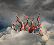 Network dangers are illustrated with this stock photo of giant tentacles in the cloud.