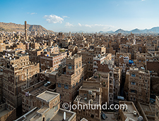 High angle view of the Old City of Saana, Yemen.