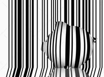 A piggy bank with scan code lines blends in to a scan code background in this piggy bank stock photo illustrating technology and innovation.