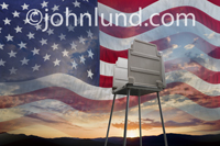 Patriotic is a voting machine is pictured against a montage of the American Flag and a sunrise in an image illustrating the patriotic nature of voting participation.