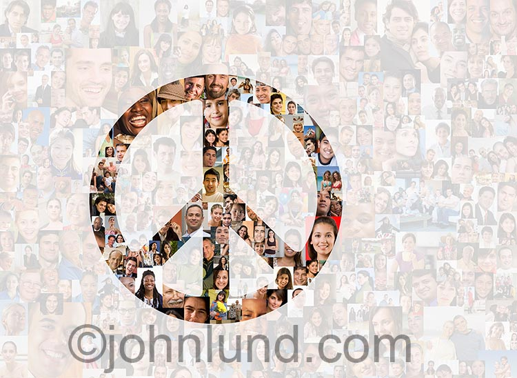 Peace in the crowd, across the globe, or through the efforts of social media and networking are illustrated in this image of a peace sign against a translucent background of hundreds of people's faces.