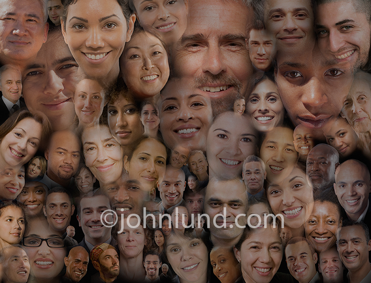"In this social media montage a large group of people's portraits are composited together to symbolize a ""tribe"" or community of like-minded individuals who collectively become a whole greater than the sum of their parts."