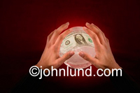 Picture of hands over a crystal ball with money visible inside the ball. Foretelling the financial future. Commocdities, stocks, bonds, derivatives, and other concepts apply.