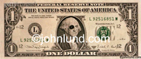 Picture of dollar bill in which George Washington is sporting a black eye; bad U.S. Foreign monetary policy.