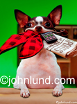 Stock photo and funny animal picture of a Chihuahua with his mouth full of goodies for Dad on father's day: Slippers, remote, pipe and a newspaper.
