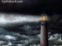 A lightouse keeper stands at the rail and looks out over the stormy sea searching for vessels in distress and answers to questions in this picture.