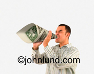 A business man uses a dollar bill for a megaphone to shout out his message. Illustrates the concept money talks.  Money is power. Money gets the message out.
