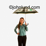 Picture of a woman holding an umbrella made of cash.  The woman is smiling and holding her money umbrella with her left hand. Money pix.
