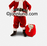 Picture of Santa with a bag of money. Santa's head is cropped out and the big red bag of cash is sitting on the ground next to his big black boots.