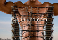Picture of a strong, muscular body behind scaffolding showing transition and self-improvement and transformation. Picture of a mans torso in scafolding.