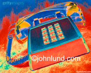 Stock Photo of an old style ringing telephone in bright colors with its receiver ringing right off the hook.