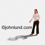 Stock photo of a woman with a dollar sign shadow. She is gesturing at her shadow which is a large $ dollar sign. She is facing toward the camera and lit from behind. Money pics.