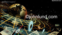 Information and things orbit the earth in this technological image of the World Wide Web and internet.