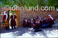 Stock Photo of a Girls School in Ladakh, India - This class picture of school girls in Ladakh, India was photographed in Leh, the capital of Ladakh.