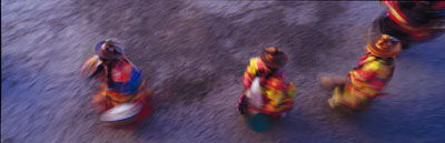 Travel and adventure stock photo of Cham dancers.  Cham Dancers during the festival at Phyang Monastery near Leh, Ladakh.